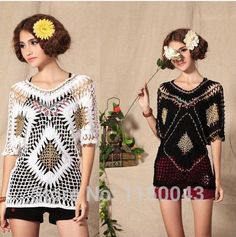 Free shipping !2014 spring and summer cutout handmade crochet shirt short-sleeve pullover sweater