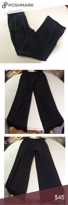 """Bcbg Mac azria pant trouser black Robbie wide leg This is a stunning pair of pants by BCBG Max Azria called """"Robbie"""". They are black with a sheen and feel like silk. They have a high waist, exposed front zipper, and side tabs to adjust fit. The wide leg makes them stand out and keeps you super comfortable. Front is pleated. Two front and back pockets. They are light weight and a size XS. 100% polyester. Machine wash, line dry.  Waist: 14"""" Hips: 19""""-21"""" Inseam: 33: Rise: 10"""" BCBGMaxAzria…"""