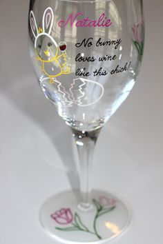 4081134dfcb Easter Wine Glass Chick Bunny Egg Tulips Spring by FlutterbyGlass Wine Glass  Crafts
