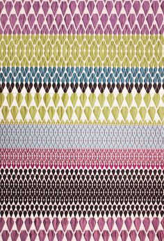 Caroline Fabric. Cotton, Polyester and Acrylic. Kaleidoscope Collection. Margo Selby. Textile Design