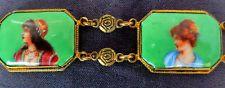 BEAUTIFUL ART DECO CZECH UNUSUAL BRIGHT GREEN GLASS LADIES BRACELET