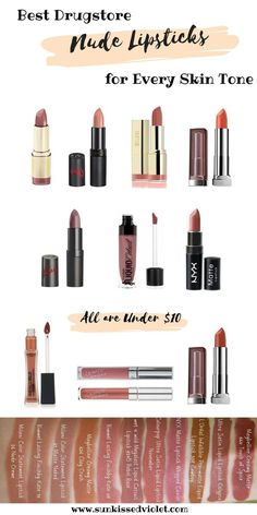 Best Drugstore Nude Lipsticks for Every Skin Tone & How to find the Right One for Your Complexion: Milani Nude Cr& Matte Naked Rimmel 008 014 Wet n Wild Rebel Rose NYX Whipped Caviar ColourPop Ultra Satin LNovember Calypso Maybelline Clay Crush Tou Lipstick Skin Tone, Neutral Lipstick, Lipstick For Fair Skin, Lipstick Shades, Lipstick Colors, Lip Colors, Fall Lipstick, Bright Lipstick, Lipstick Art