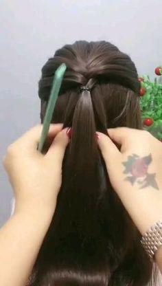 Easy Hairstyle Video, Braided Ponytail Hairstyles, Short Hair Updo, Braids For Long Hair, Hair Tutorials For Medium Hair, Up Dos For Medium Hair, Hair Up Styles, Medium Hair Styles, Easy Hairstyles For Long Hair