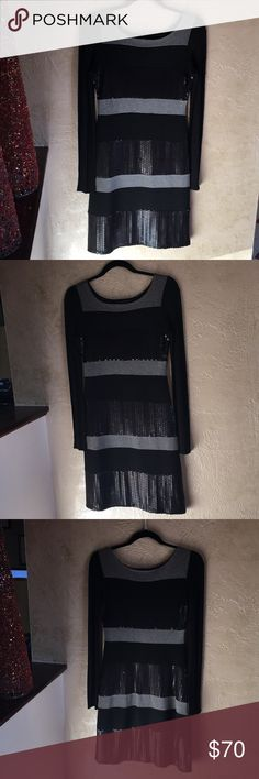 Bailey 44 morning Black & Grey Stripe Dress Bailey 44 Black and grey long sleeve  striped dress. Flat sheen sequins give this dress a unique edgy look. Xsmall / lined. Gently worn. Bailey 44 Dresses Long Sleeve