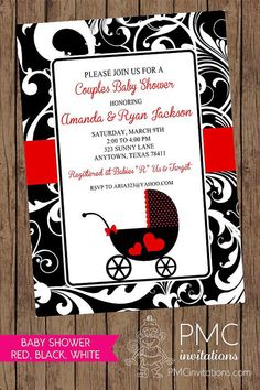 Red Black White Carriage Baby Shower by PaperMonkeyCompany on Etsy, $1.00