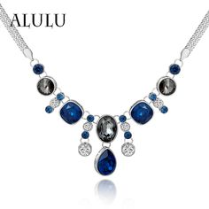 Popular Jewelry Blue Square Crystal Rhinestone Choker Necklace Female Chain Statement Necklace Women Party Gifts Fashion Jewelry