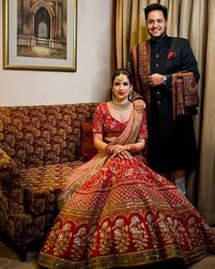 Red gold Asiana Couture Wedding lehenga. Click on picture to see lehenga price. #Frugal2Fab