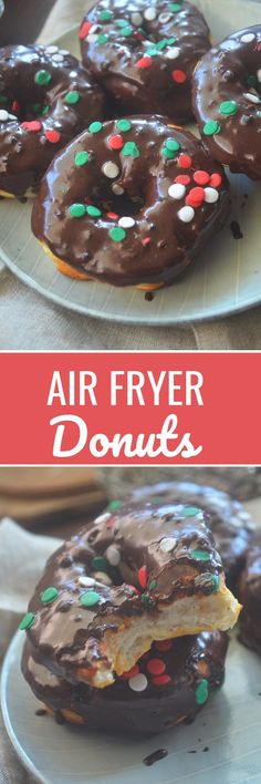 Air Fryer Donuts using canned Biscuits - Recipe Diaries - #donuts #AirFryer #airfryerrecipes