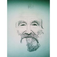 My Robin Williams drawing,  half-way through.