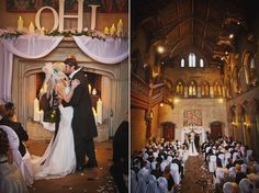A wedding ceremony in the Great Hall. Wedding photography at Matfen Hall by 2tone Photography. www.2tonephotography.co.uk