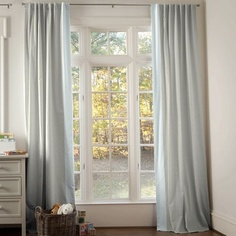 Light Blue Linen Hidden Tab Drapes 84-Inch tall with Vertical Trim (Set of 2 Panels) 500x500 image