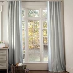 Light Blue Linen Hidden Tab Drapes with Vertical Trim   Carousel Designs 500x500 image