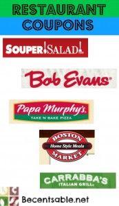 Big List of Restaurant Coupons!