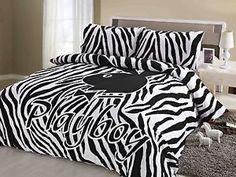 Licensed-Playboy-Bunny-Logo-Zebra-Quilt-Doona-Cover-Set-DOUBLE-QUEEN-KING