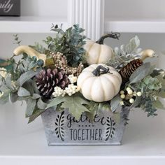 Updates from SimplyStems on Etsy Pumpkin Floral Arrangements, Fall Arrangements, Christmas Arrangements, Dining Room Table Centerpieces, Summer Centerpieces, Pumpkin Centerpieces, White Pumpkins, Fall Pumpkins, Farmhouse Fall Wreath