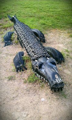 Tire Playground, Outdoor Playground, Tyres Recycle, Recycled Tires, Tired Animals, Tire Craft, Garden Plant Stand, Backyard Creations, Crocodile