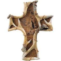 Birch Antler Wall Cross hunting home decor rustic