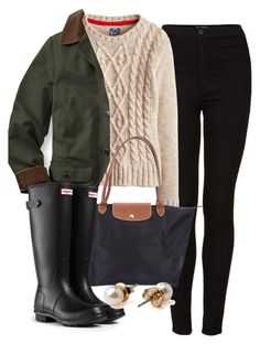 """Untitled #445"" by denimgrey ❤ liked on Polyvore featuring Topshop, Longchamp, Hunter and American Apparel"