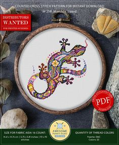 This is modern cross-stitch pattern of Mandala Lizard for instant download. You will get 7-pages PDF file, which includes: - main picture for your reference; - colorful scheme for cross-stitch; - list of DMC thread colors (instruction and key section); - list of calculated
