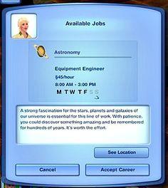 Mod The Sims - Astronomy Career