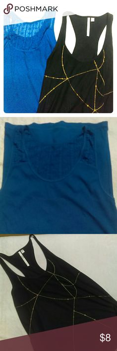 Tank top Prebundle Lauren Conrad Tback gold detail, size M, like new. Arizona Jeans bright blue, Lacey tank, like new, size L LC Lauren Conrad Tops Tank Tops