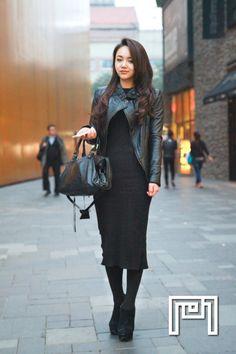 leather jacket, black dress