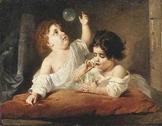 Anton Romako, (Austrian, 1832–1889) - Children Blowing Bubbles, 1868