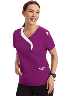 Soft, sculpted scrub top with a contrast wave neckline. This scrub top also has two lower pockets, one chest pocket and one shoulder pen pocket. Nursing Uniforms, Cleaning Companies, Scrub Tops, Scrubs, Wetsuit, Work Wear, Sculpting, Fashion Dresses, Lady