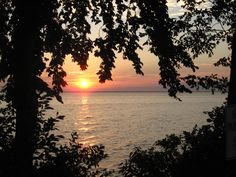 Sunset, looking west from Calumet County Park on Lake Winnebago