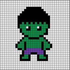 Pattern of Hama Beads Midi from Hulk, the greenest superhero of … – Marvel Comics Easy Perler Bead Patterns, Fuse Bead Patterns, Diy Perler Beads, Perler Bead Art, Cross Stitch Patterns, Pixel Art Super Heros, Image Pixel Art, Marvel Cross Stitch, Hulk