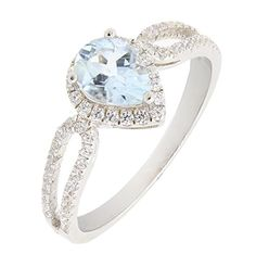 Beautiful Sterling Silver Pear Cut Heart Shape Natural Aquamarine Ring w Accent 23 CTTW 9 * Read more reviews of the product by visiting the link on the image.Note:It is affiliate link to Amazon.