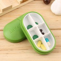 Green Pill Storage Box Portable Travel Emergency First Aid Kits 6-Slot Medical Pill Box Holder Medicine Drug Case Wholesale