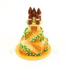 Dolls House Miniature 3 Tier Princess Castle Cake