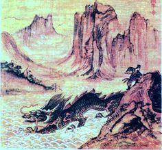 Юй и дракон Инлун борются с потоками воды