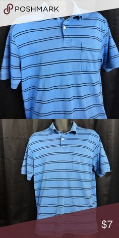 """Big Boy Top Blue in color with black striped lines,one pocket on front chest area,2 buttons with collar. Shoulder width 6"""" sleeve length 9"""", full length front 25"""", full length back 25 1/2"""",chest width 17"""",neck width 5 1/2"""" with play,sleeve cuff width 5 3/4"""". Roundtree & Yorke Shirts & Tops"""