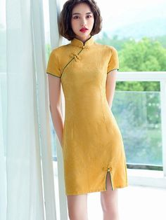 2021 Summer Yellow Linen Qi Pao Cheongsam Dress - IMALLURE – imallure Women's Clothes, Clothes For Women, Cheongsam Dress, Mandarin Collar, Vintage Shoes, Body Measurements, Short Sleeve Dresses, Yellow, Casual