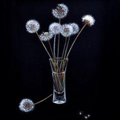 soft pastel painting dandelions картина сухой пастелью одуванчики