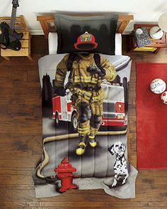 Amazon com  Dream Big Firefighter Ultra Soft Microfiber 2 Piece Comforter  Sham Set  Kids Bedroom IdeasKids  yes we doo   and just cause you have a pair doesnt make you a fire  . Firefighter Room Decorations. Home Design Ideas