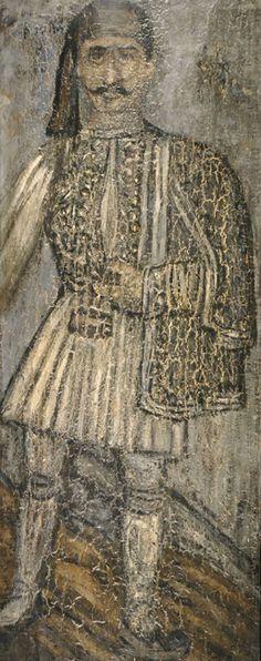 Θεόφιλος (Χατζημιχαήλ) (1873 - 1934)  Φουστανελάς. Λαδοτέμπερα σε ξύλο. Συλλογή Εθνικής Πινακοθήκης.  Theophilos (Chatzimichael) (1873 - 1934) Man in a Fustanella. Oil tempera on panel. National Gallery collection.