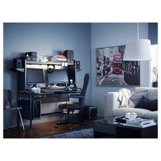 IKEA - FREDDE Work station black Ikea, Gaming Room Setup, Desk Setup, Computer Setup, Home Office Setup, Office Ideas, Video Game Rooms, Game Room Design, Gamer Room