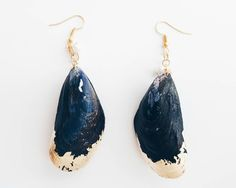 Exclusive Mussels Seashell Earrings blue jewelry gold ocean beach accessories pearl beachy golden natural real seashells fully attached foil
