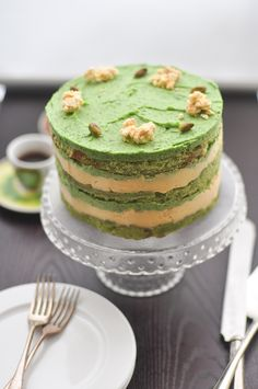 Milk Bar Pistachio Cake! Pistachio cake, lemon curd, milk crumbs, and pistachio frosting.