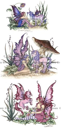 3 Fairy Horses MiniPrint Set by Amy Brown. via Etsy.