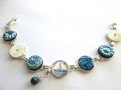 SAILING vintage button bracelet. Glass sailboat intaglio piece, Paua shell, silver links