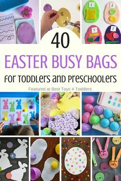 Best Toys 4 Toddlers - 40 Easter busy bags for toddlers and preschoolers to enjoy in their quiet time as an independent activities Easter Activities For Kids, Toddler Learning Activities, Montessori Activities, Preschool Toys, Easter Crafts For Kids, Toddler Preschool, Craft Activities, Easter Ideas, Kid Crafts