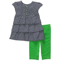 Carter's® Infant Girl Polka Dot Dress and Leggings #VonMaur #Carter's #Green #PolkaDots