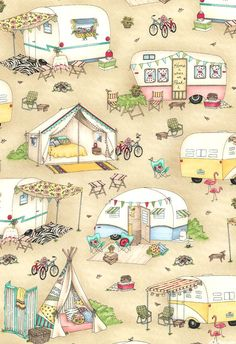 Roam Sweet Home - Glamping Tents & Trailers - Quilt Fabrics from www.eQuilter.com