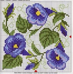 I forgot where I saw this pattern, but I often use cross stitch embroidery patterns for bead weaving patterns. I love the morning glories. Biscornu Cross Stitch, Cross Stitch Needles, Cross Stitch Charts, Cross Stitch Designs, Cross Stitch Embroidery, Embroidery Patterns, Cross Stitch Patterns, Weaving Patterns, Beaded Cross
