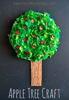 Colorful Paper Plate Apple Tree Craft for Kids, perfect fall kids craft.