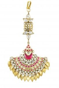 Gold plated traditional hanging leaf maang tikka